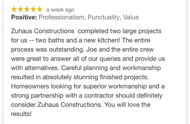 A five star review is the best compliment you could ever give us! Thank you!   #generalcontractor #residential #commercial #familyowned #experienced #local #kitchenremodel #bathroomremodel