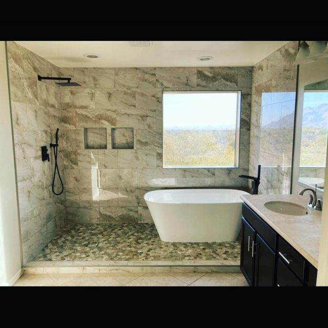 Looking for bathroom inspiration? Look no further 👀   Swipe ➡️ for the before!!   #construction #bathroomremodel #homerenovation #bathroomdesign #localbusiness #familyowned #familyownedandoperated #homedesign